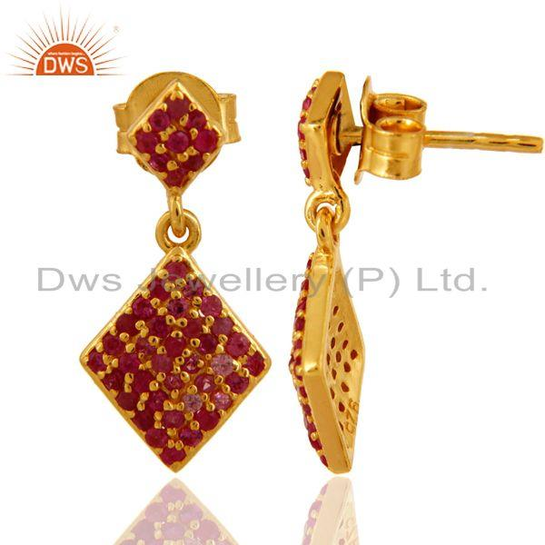 Exporter Natural Ruby Gemstone Sterling Silver Dangle Earrings - Yellow Gold Plated