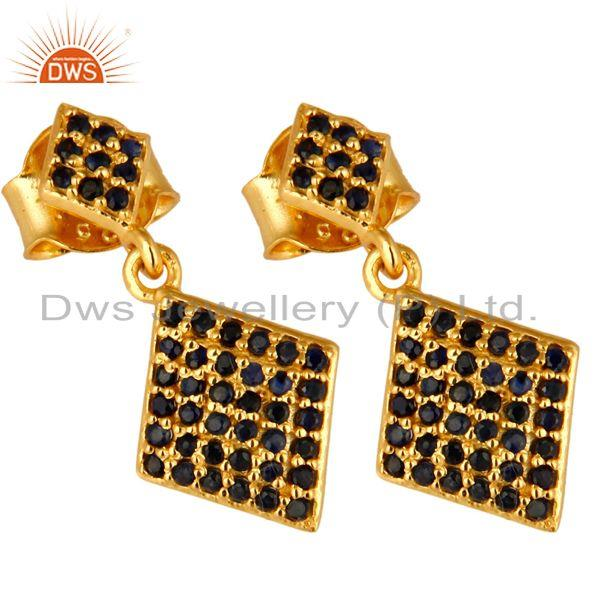 Exporter Pave Set Blue Sapphire Sterling Silver Drop Earrings With 14K Yellow Gold Plated