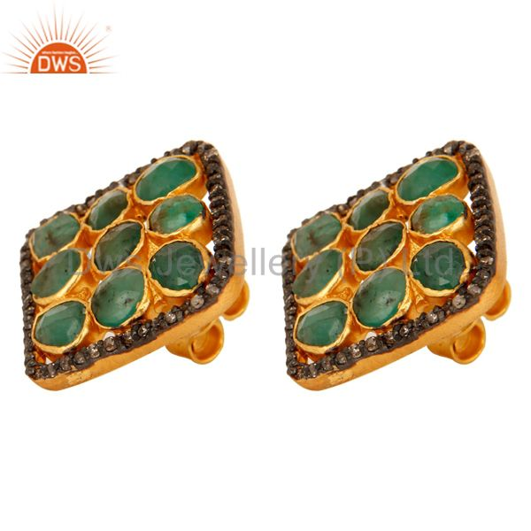Exporter Natural Emerald And Pave Set Diamond 925 Sterling Silver Cushion Stud Earrings