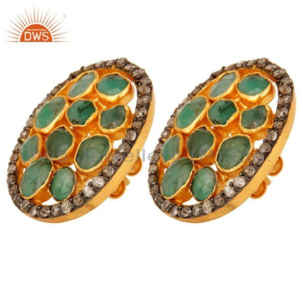 Exporter Natural Emerald And Pave Diamond Sterling Silver Halo Stud Earrings - Gold Plate