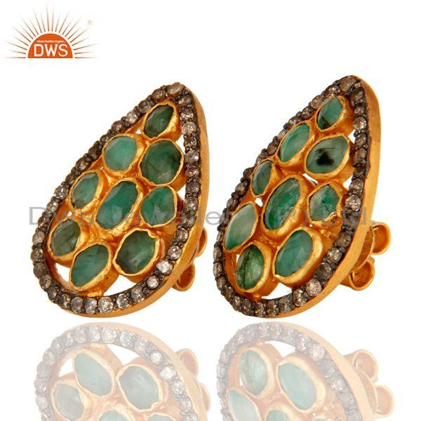 Exporter Natural Emerald Pave Diamond Stud Earrings In 18K Gold Over Sterling Silver