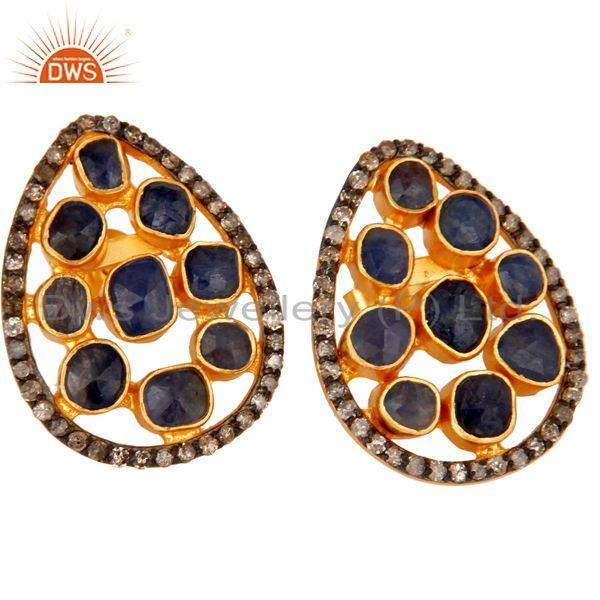 Exporter Natural Blue Sapphire Pave Diamond Stud Earrings 18K Gold Over Sterling Silver