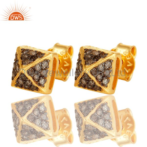 Exporter Pave Set Diamond Womens Stud Earrings Made In 18K Gold Over Sterling Silver