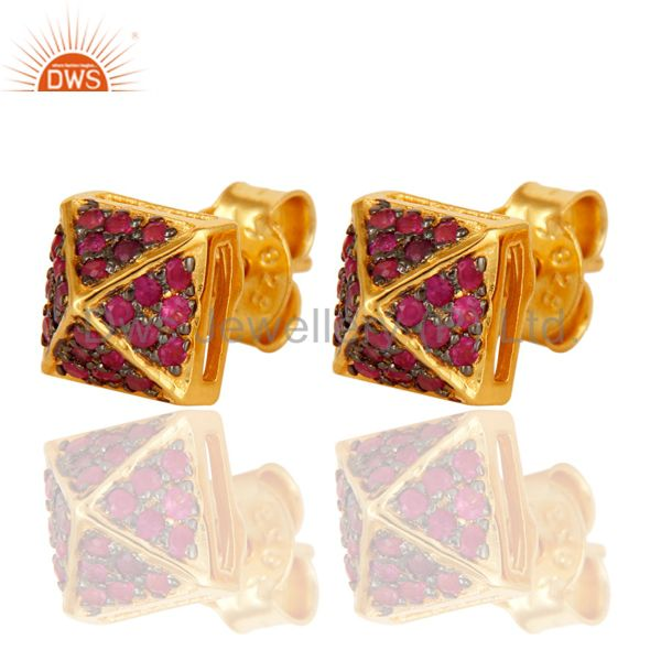 Exporter Ladies Pave Set Ruby Gemstone Stud Earrings Made In 18K Gold Over Silver