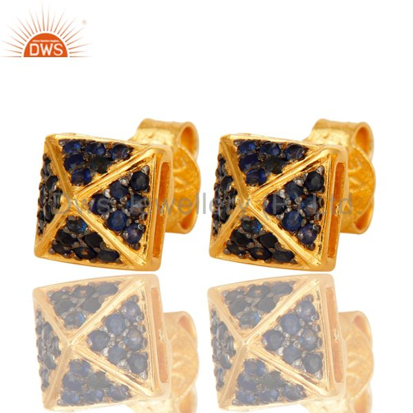 Exporter Blue Sapphire Womens Basket Set Stud Earrings In 18K Gold Over Sterling Silver