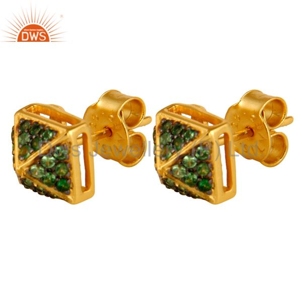 Exporter 14K Yellow Gold Plated Sterling Silver Pave Set Tsavorite Womens Stud Earrings