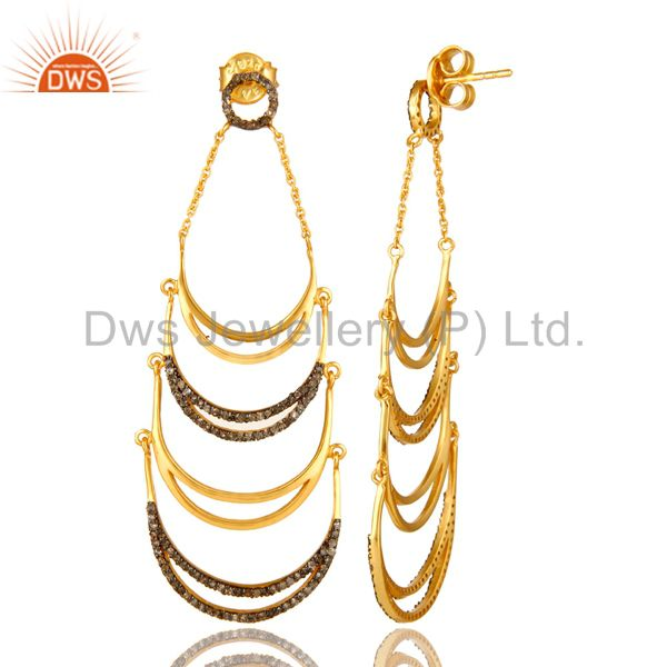 Exporter 18K Yellow Gold Plated Sterling Silver Pave Set Diamond Dangle Earrings