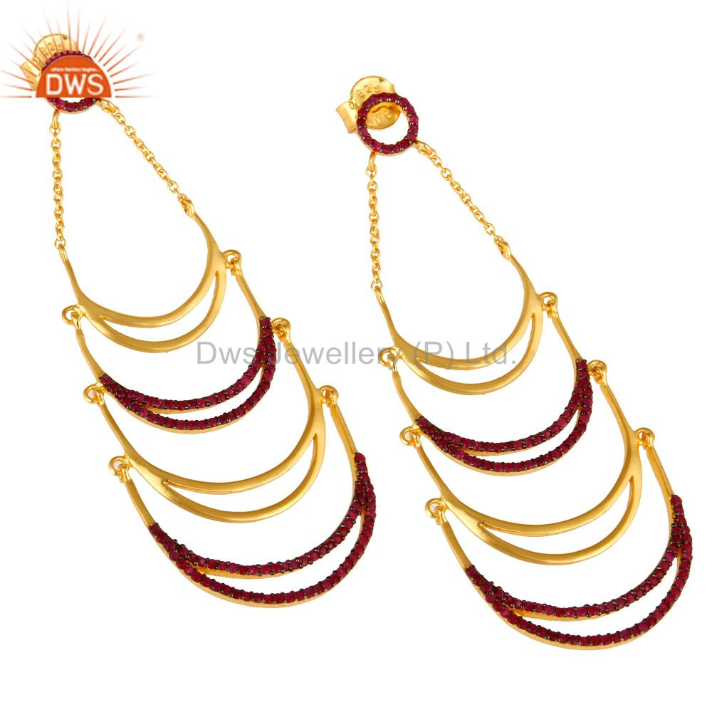 Exporter Designer 14K Yellow Gold Plated Sterling Silver Ruby Gemstone Dangle Earrings