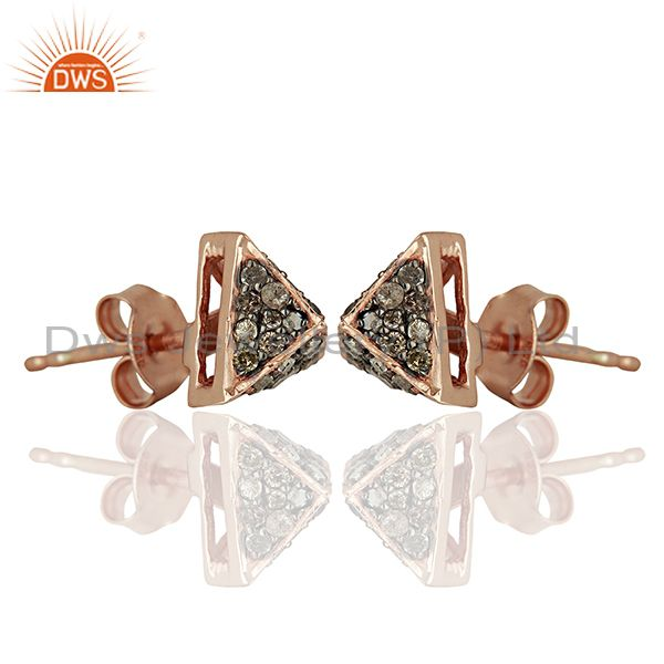 Exporter Wholesale Rose Gold Plated Pave Diamond Stud Earrings Jewelry Supplier