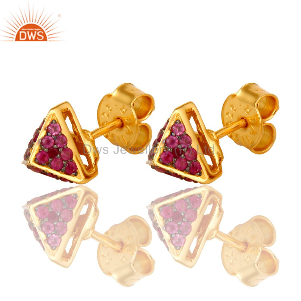 Exporter 14K Yellow Gold Plated Sterling Silver Ruby Gemstone Basket Womens Stud Earrings