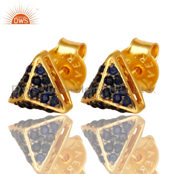 Exporter 18K Yellow Gold Plated Sterling Silver Blue Sapphire Womens Stud Earrings
