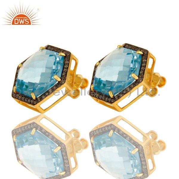 Exporter Blue Topaz And Pave Set Diamond Hexagon Stud Earrings Made In 18K Gold On Silver