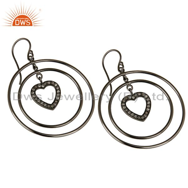 Exporter Oxidized Sterling Silver Pave Set Diamond Heart Design Circle Dangle Earrings
