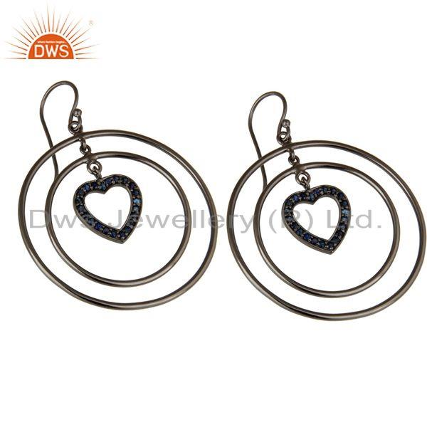 Exporter Oxidized Sterling Silver Blue Sapphire Heart Design Multi Circle Dangle Earrings