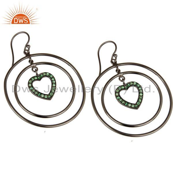 Exporter Oxidized Sterling Silver Tsavourite Heart Design Multi Circle Dangle Earrings