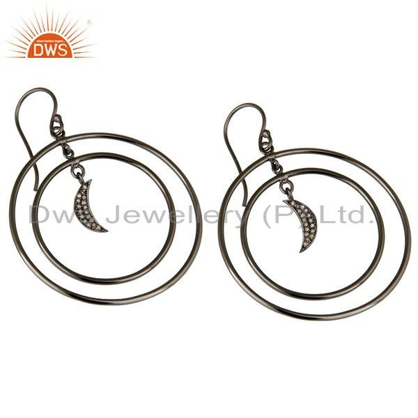 Exporter Oxidized Sterling Silver Pave Diamond Half Moon Charm Circle Dangle Earrings