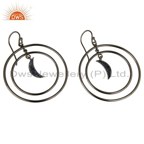 Exporter Oxidized Sterling Silver Blue Sapphire Half Moon Charm Circle Dangle Earrings