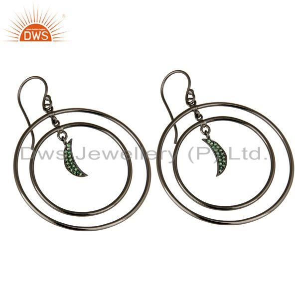 Exporter Oxidized Sterling Silver Tsavourite Half Moon Charm Circle Dangle Earrings