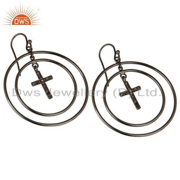 Exporter Oxidized Sterling Silver Pave Setting Diamond Cross Circle Dangle Earrings