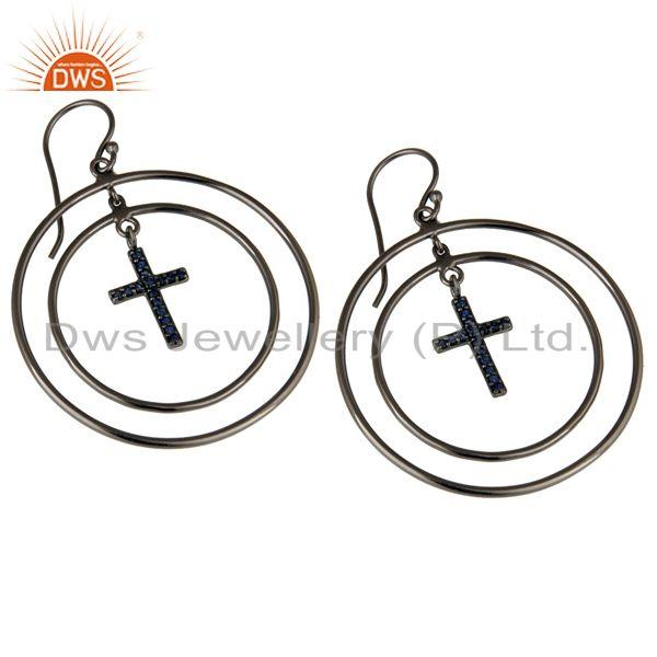 Exporter Oxidized Sterling Silver Pave Setting Blue Sapphire Cross Circle Dangle Earrings