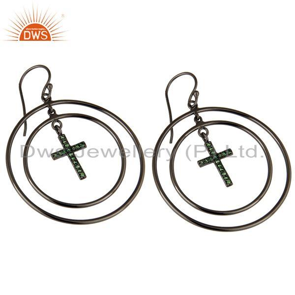 Exporter Oxidized Sterling Silver Pave Setting Tsavourite Cross Circle Dangle Earrings