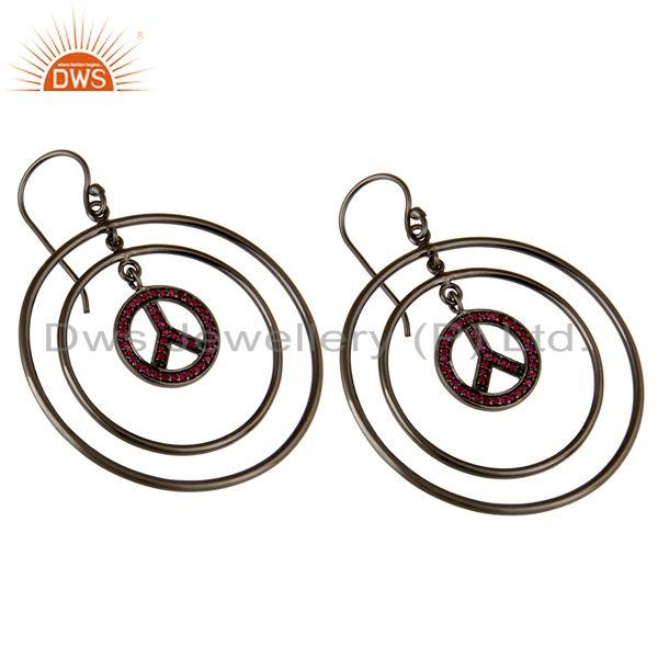 Exporter Oxidized Sterling Silver Pave Setting Ruby Peace Sign Birthstone Dangle Earrings