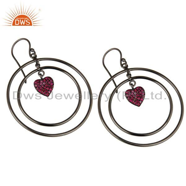 Exporter Oxidized Sterling Silver Pave Set Ruby Heart Design Circle Dangle Earrings
