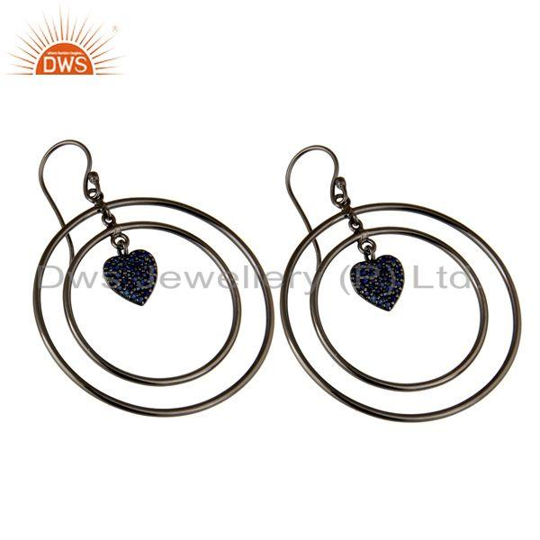Exporter Oxidized Sterling Silver Pave Blue Sapphire Heart Design Circle Dangle Earrings