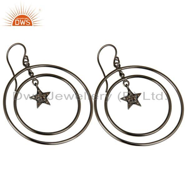 Exporter Oxidized Sterling Silver Pave Set Diamond Star Design Circle Dangle Earrings