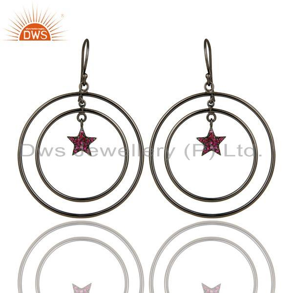 Exporter Oxidized Sterling Silver Pave Set Ruby Star Design Multi Circle Dangle Earrings