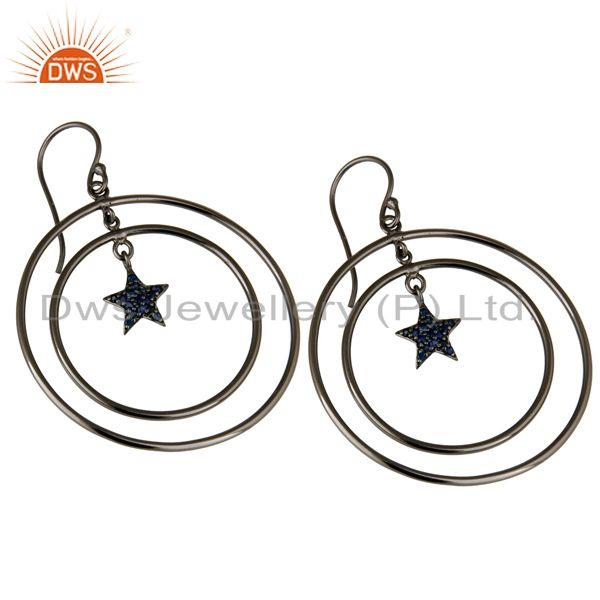 Exporter Oxidized Sterling Silver Blue Sapphire Star Multi Circle Dangle Earrings