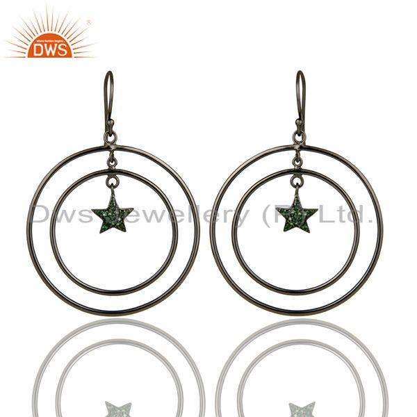 Exporter Oxidized Sterling Silver Pave Set Tsavorite Star Multi Circle Dangle Earrings