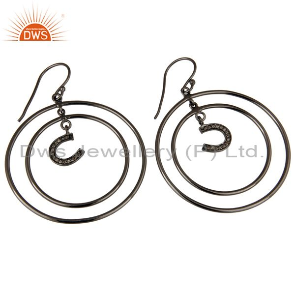 Exporter Oxidized Sterling Silver Pave Diamond Horseshoes Design Circle Dangle Earring