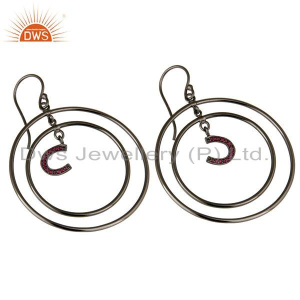 Exporter Oxidized Sterling Silver Pave Ruby Horseshoes Design Multi Circle Dangle Earring