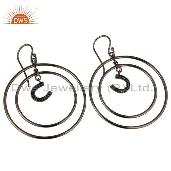 Exporter Oxidized Sterling Silver Pave Blue Sapphire Horseshoes Circle Dangle Earring