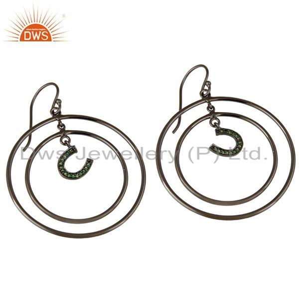 Exporter Oxidized Sterling Silver Pave Tsavourite Horseshoes Multi Circle Dangle Earring