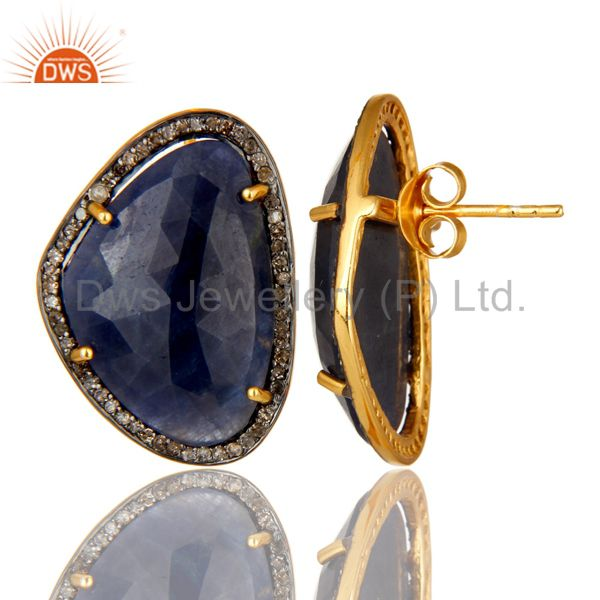 Exporter 14K Gold Over Sterling Silver Pave Set Diamond And Blue Sapphire Stud Earrings