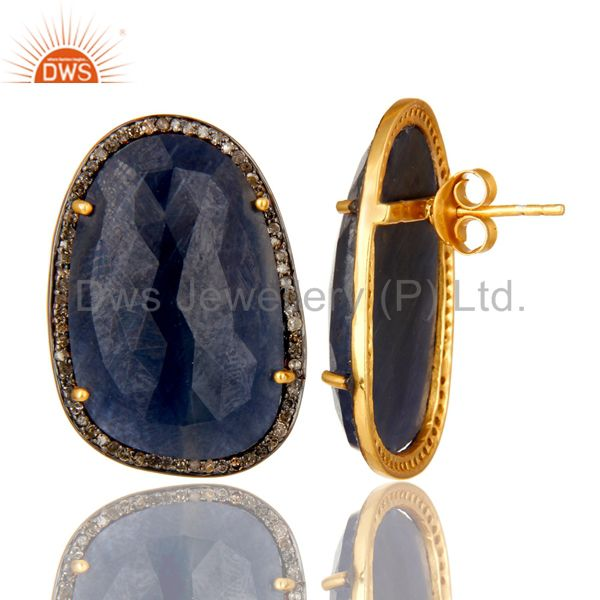 Exporter 18K Yellow Gold Sterling Silver Blue Sapphire And Pave Set Diamond Stud Earrings