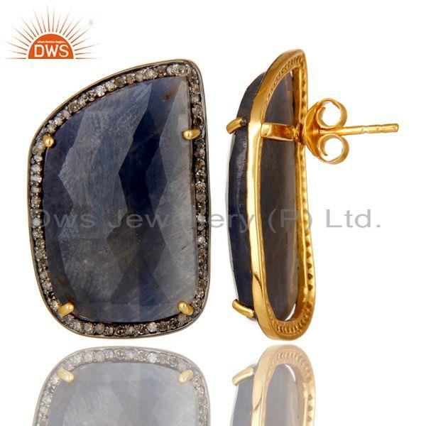 Exporter Pave Diamond And Blue Sapphire Stud Earrings In 18K Gold Over Sterling Silver