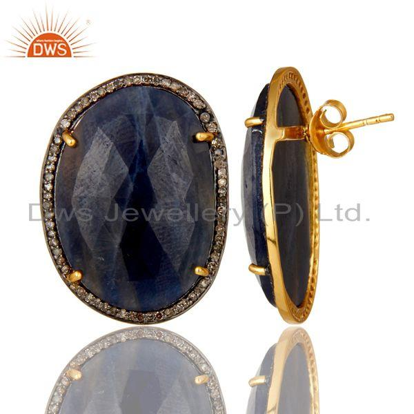Exporter 18K Yellow Gold Sterling Silver Blue Sapphire And Pave Diamond Stud Earrings