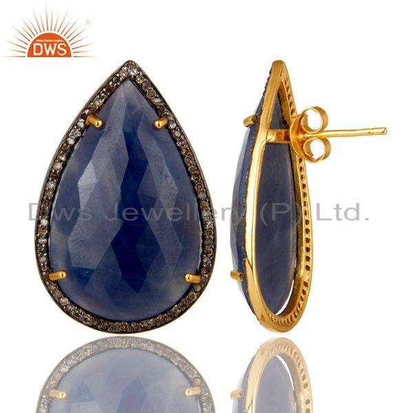 Exporter 14K Gold Over Sterling Silver Pave Diamond And Blue Sapphire Drop Stud Earrings