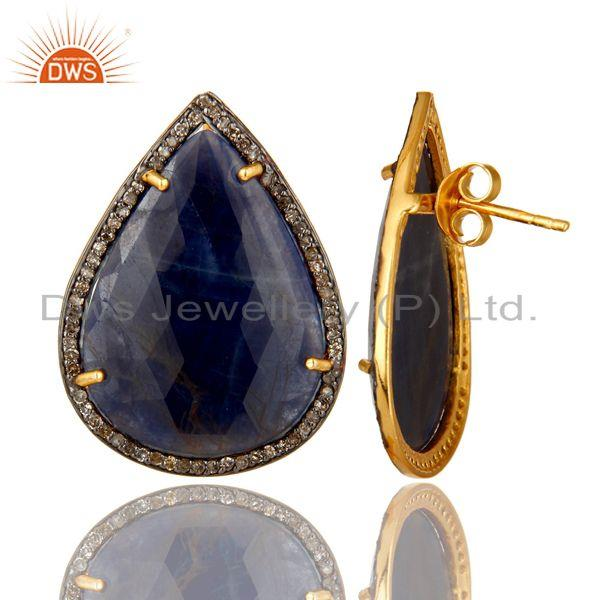 Exporter 18K Gold Over Sterling Silver Pave Diamond And Blue Sapphire Drop Stud Earrings