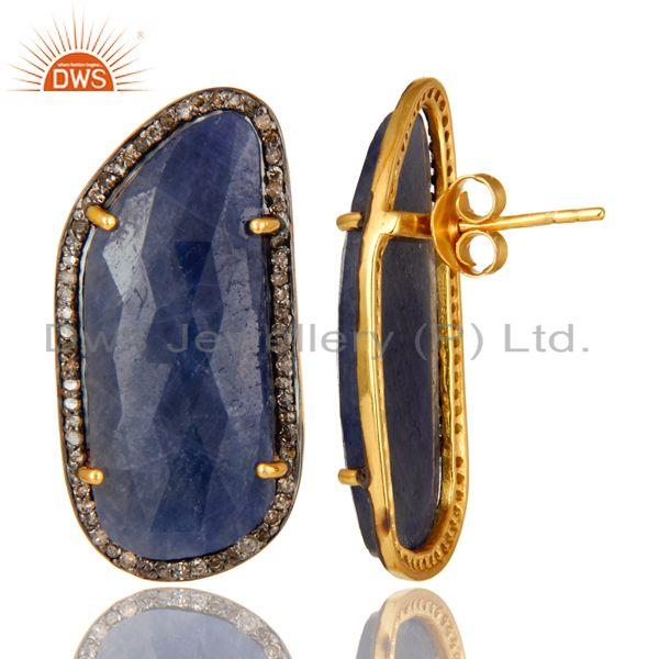 Exporter Blue Sapphire Pave Diamond Sterling Silver 18k Gold Stud Earrings
