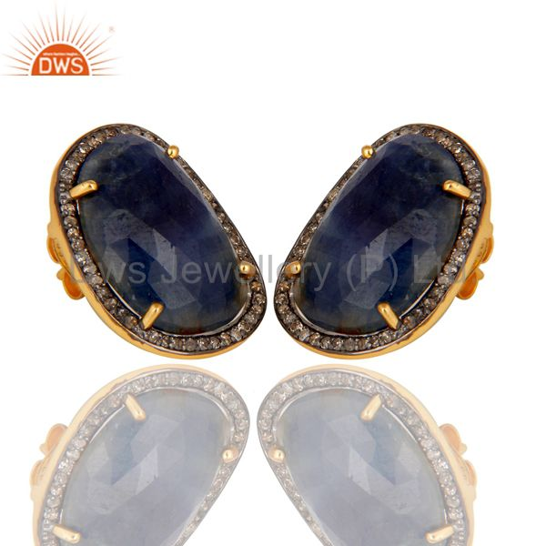 Exporter 18K Yellow Gold Over Sterling Silver Blue Sapphire and Diamond Stud Earrings