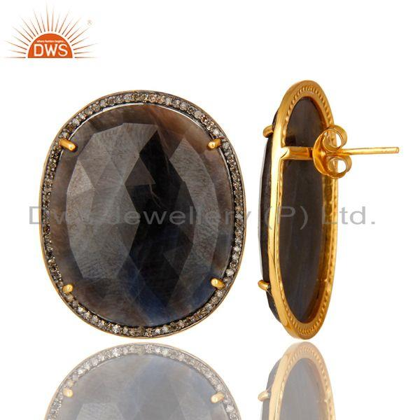 Exporter 18K Yellow Gold Over Sterling Silver Blue Sapphire And Pave Diamond Stud Earring