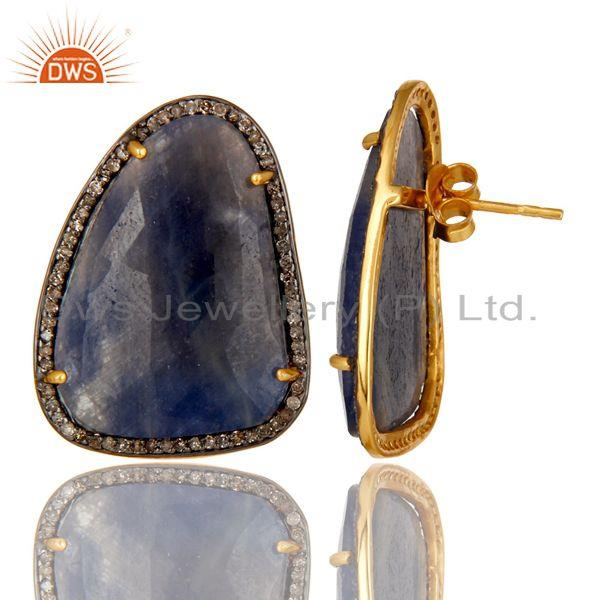 Exporter 18K Gold Sterling Silver Pave Diamond And Blue Sapphire Fashion Stud Earrings