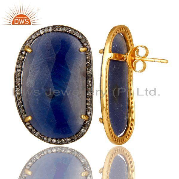 Exporter 18K Yellow Gold Over Sterling Silver Pave Diamond Blue Sapphire Stud Earrings