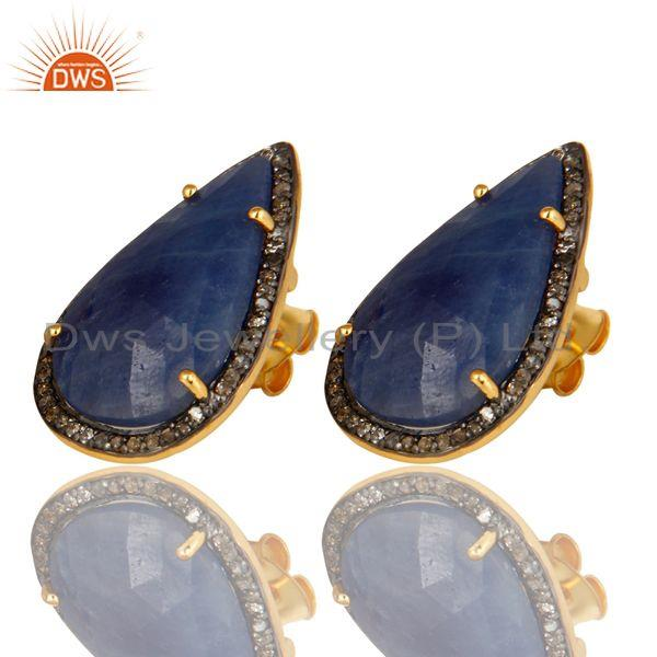 Exporter 18K Yellow Gold Sterling Silver Pave Set Diamond Blue Sapphire Stud Earrings