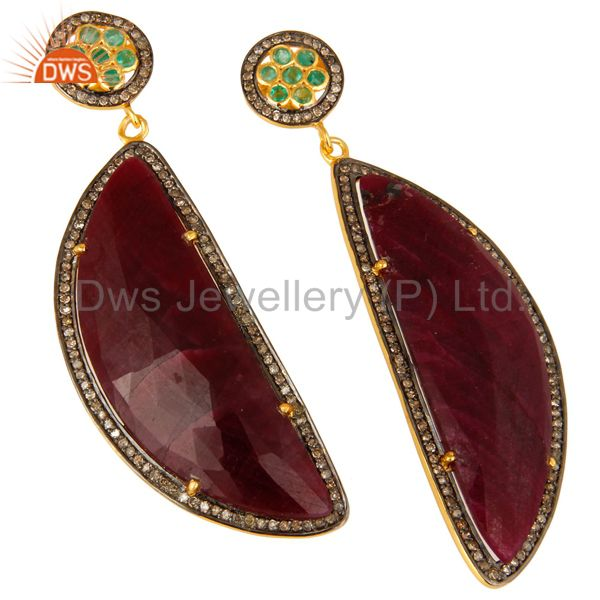 Exporter 18K Yellow Gold Sterling Silver Pave Diamond And Ruby Slice Dangle Earrings