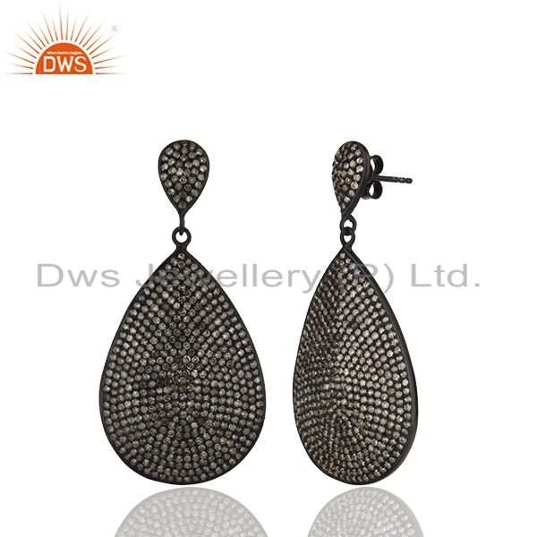 Exporter Oxidized Sterling Silver Pave Setting Diamond Teardrop Earrings